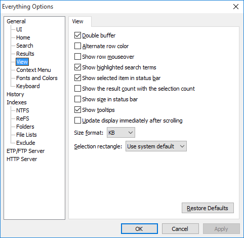 Everything Options View