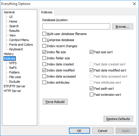 Everything Options Indexes