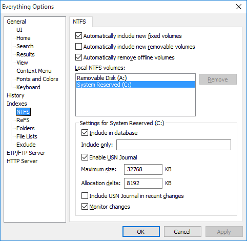 Everything Options NTFS